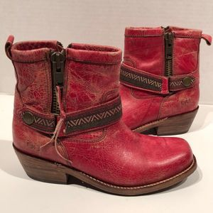 Bed Stu Trple Red Lux Boho Leather Moto Boots